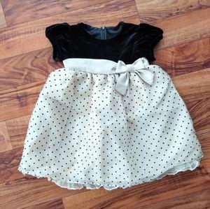 Bonnie Baby dress black and champagne polka dot